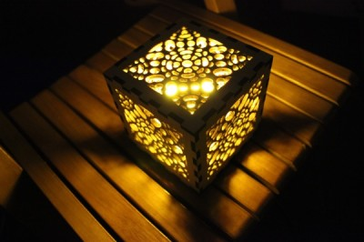 Laser wood cutting – Lampshade cutting (honeycomb)